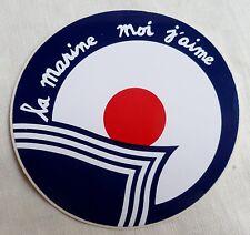 AUTOCOLLANT LA MARINE MOI J'AIME bleu foncé Sticker ORIGINAL FRANCE 1980/90