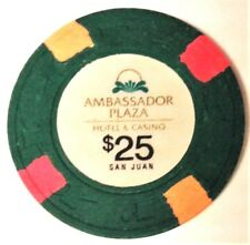 New listing $25 Ambassador Casino Green Yellow Chip Condado San Juan Puerto Rico Paulson H&C
