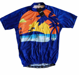 OCG Cycling Jersey Blue Beach Scene Palm Trees Sunset Short Sleeve Mens 2XL