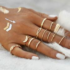 12pcs/set Fashion Vintage Gold Boho Midi Finger Knuckle Rings Women Jewelry Gift
