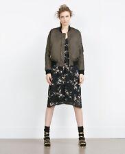 Zara green khaki silky over-sized bomber jacket satin unisex M UK10 38
