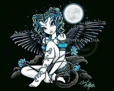 Gothic Angel Moon Lily Flower Fairy Teal Signed Print Alexis Myka Jelina