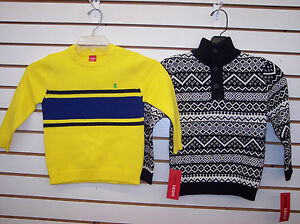 Boys IZOD $39.50 Yellow or Black Pullover Sweaters Size 4 - 7X