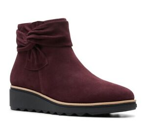 Clarks Collection Women Ankle Booties With Bow Sharon Salon Suede
