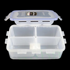 4-Grid Food Storage Box Case Container Holder Refrigerator Crisper w/Cover S
