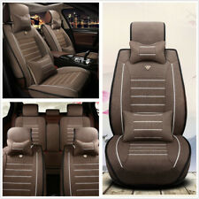 Coffee Deluxe Edition Linen Fabric 5Seat Car Seat Covers Front + Rear Pillow Mat