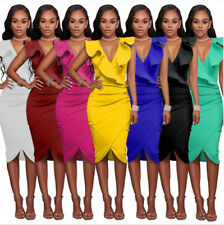 UK Women's Wiggle Dress V Neck Wrap Dress Pencil Tunic Midi Party Cocktail Dress