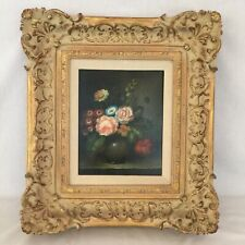 "8' x 10"" Floral Still Life In 18"" x 16"" Ornate Frame Vintage"