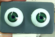 Glastic Doll Eyes - 22 mm - Emerald Green - New - Amazing Clear Intense Color