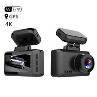 4K UHD Car Dashboard Camera Dash Cam with WiFi GPS Gesture Control Hardwire Kit
