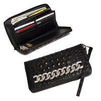 Raviani Zipper Wallet In Black Embossed Crocodile Cowhide Leather Crystal Chain