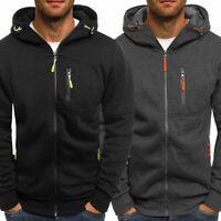Mens Zip Up Hoodie Sweatshirt Hooded Coat Jacket Winter Warm Fleece Top Fashion
