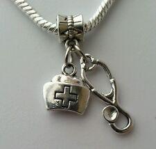 Doctor Nurse Cap Stethoscope RN Gift Dangle Charm Bead European Style Bracelet