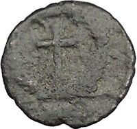 THEODOSIUS II 425AD  Ancient Roman Coin Cross within wreath of success  i32883