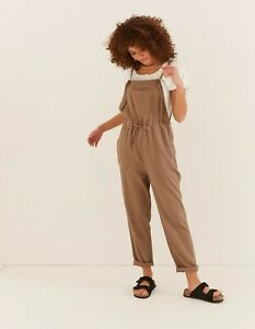 Fat Face Ellis Linen Blend Jumpsuit Taupe Size 14 R New With Tags