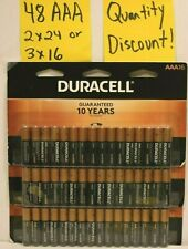 48 2 x 24 or 3 x 16  Duracell AAA batteries Fresh Alkaline Coppertop Free Ship!