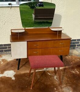 Vintage 1950s dressing table with mirror drawers and cupboard and1950s stool.