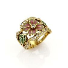 Masriera Diamond & Enamel 18k Yellow Gold Floral Band Ring