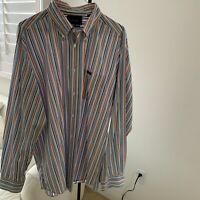Faconnable Mens Size XL Button-Front 100% Cotton Multi-Color Striped Shirt