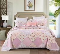 Coverlet Quilt 100% Cotton No Polyester Pink 195x235 King Single Bedspread 2PCE
