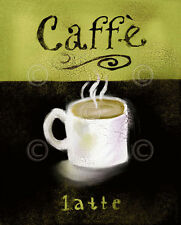 CAFE ART PRINT - Caffé Latte by Anthony Morrow Coffee Cup Espresso Poster 8x10