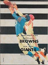 NOV 26, 1961 CLEVELAND BROWNS vs NEW YORK GIANTS VINTAGE FOOTBALL PROGRAM