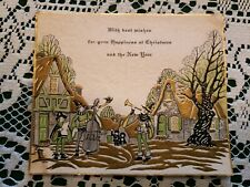 Vintage Art Deco Era Christmas Greeting Card Merry 1930s Signed Old Band Town
