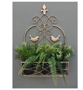 Large Gold Outdoor Garden Wall Hanging Plant Flower Pot Planter Basket Holder