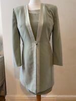 Jaques Vert Pale Green Dress Jacket Suit Wedding Guest Mother Bride Size 12 VGC