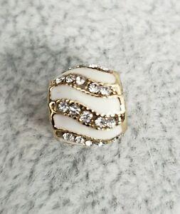 Pandora Crystal White Enamel Yellow Gold Plated Slider Spacer Bead