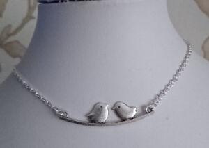 "love bird pendant choker necklace silver plated chain 15"" steampunk art deco"