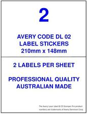 AVERY CODE DL 02 LABEL STICKERS 2 PER SHEET X 100 SHEETS SHIPPING POST MAIL