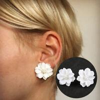 Eg _ Weiß Mode Blüten Kunstperlen Damen Ohrringe Ohrstecker Schmuck Geschenk