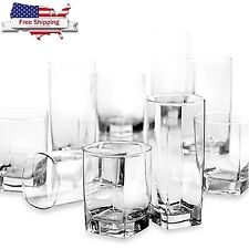 Glass 16 Piece Clear Drinking Set Water Kitchen Glassware Cups Bar Made in USA