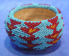 "Paiute Beaded Basket c1930-50 2.25"" x 3 5/8"", glass seedbeads over coiled willow"