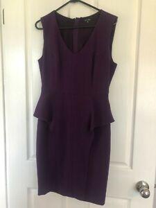 Portmans Purple Peplum Dress Size 10 - Excellent Condition