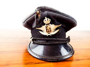 Vintage 1940s Captain Pilot Hat Aviator Peak Cap WW2 Belgian Military Air force