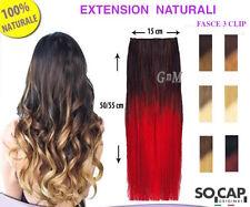 3 FASCE CLIP HAIR EXTENSION SHATUSH CAPELLI VERI NATURALI 50/55cm SOCAP ORIGINAL