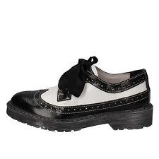 scarpe donna BEVERLY HILLS POLO CLUB 39 classica bianco nero pelle AE930-E