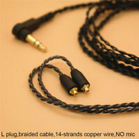 3.5mm Headphone Earphone DIY Braided Cable MMCX Plug Updated Replacement WiF hj