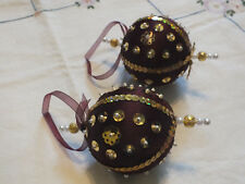 """Collectible Holiday Christmas 3"""" Ornament Hand Beaded Set 2 Burgundy Gold White"""