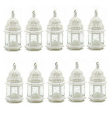 WHOLESALE LOT: 10 Etched Clear Glass White Moroccan Style Candle Lanterns NEW