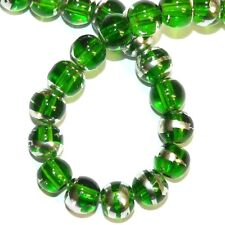 "G851L Green Clear 8mm Round Silver Metallic Swirl Drawbench Glass Beads 16"""