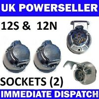 2 x 7 PIN METAL ALLOY SOCKETS 12N & 12S Towbar Towing Electrics caravan trailer
