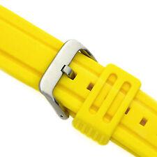Kautschukband Uhrenband Armband 24mm Taucher gelb wasserfest Dornschließe