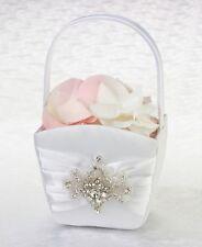 Jeweled Motif White Flower Basket Flower Girl Wedding Ceremony Aisle Gift Satin
