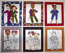 NURSE CENTRAL, HOSPITAL DOCTOR and NURSE Set of 6 Mini-panels 100% cotton #D/83A