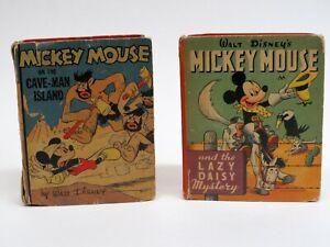 2 Vintage Walt Disney Mickey Mouse Better Little Books 1940s Cave Man Lazy Daisy