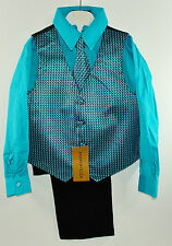 Boys Jacquard Vest Pants Shirt Tie Turquoise w/Black 4 pc.Andrew Fezza Sz 5 NWT