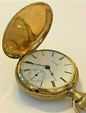 Elgin 14K Yellow Gold Pocket Watch Rare Running - 4979211 Antique Full Hunter